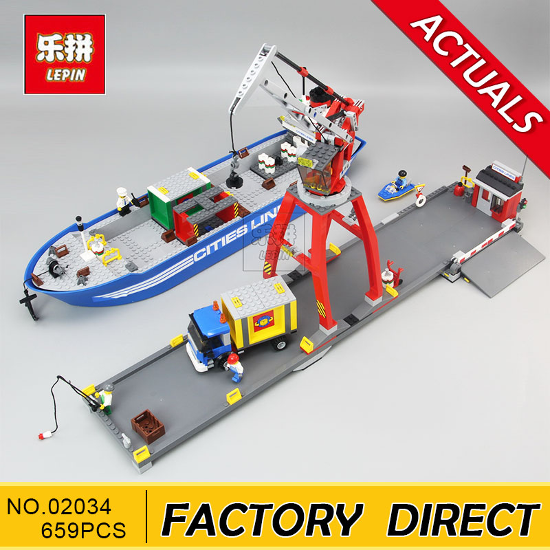 Lepin 02034 695pcs City Series Super Cargo Port Terminal Building Block Compatible with 7994 Brick Toy Children DIY Educational lepin 02036 298pcs city truck building block compatible 3221 brick toy