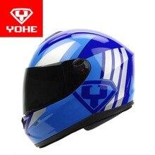2017 nueva yohe casco integral de motocicleta motocross cascos de moto hecho de ABS + PC Visera invierno cálido four season Modelo YH966