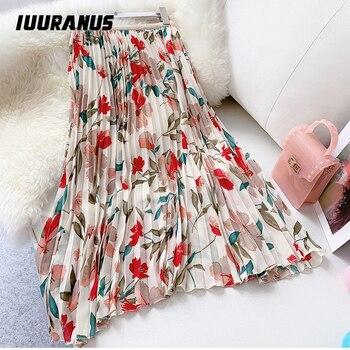IUURANUS New 2019 Women Chiffon Skirt Summer Flower Elegant Pleated Skirt Ladies Vintage High Waist Long Skirts beach skirt box pleated chiffon skirt