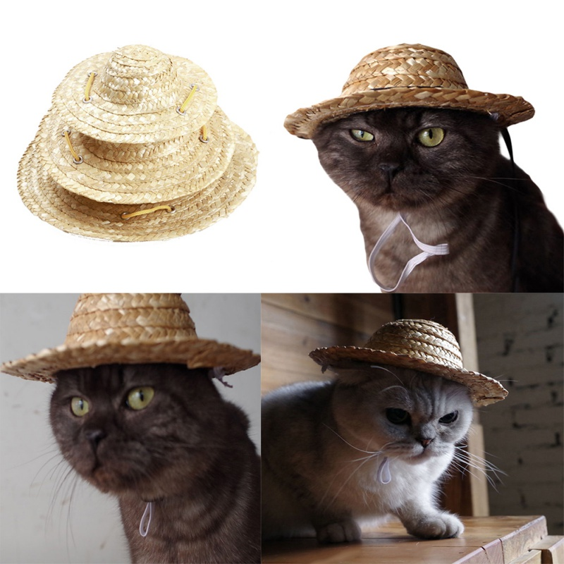 Straw Hat for Dogs | Dog Sun Hat | Cat Sun Hat | Outdoor Dog Accessories
