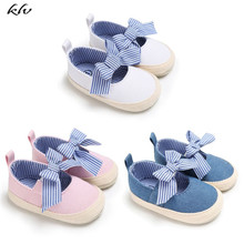 Baby Girls Princess Shoes Infant Toddler Crib Bebe Kids First Walkers Canvas Striped Big Bow Soft Soled Anti-Slip Shoes стоимость
