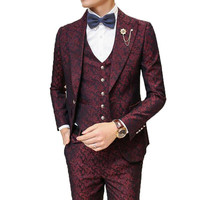 Мужской костюм с брюками Свадебные Жених выпускного вечера костюмы для Для мужчин бордовый Floral Jacquard Slim Fit 3 шт./компл. (куртка + жилет + штаны)