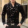 Мужские рубашки золото бархат мужской с длинным рукавом рубашки случайным цветок bronzier легкий уход мужская clothing top