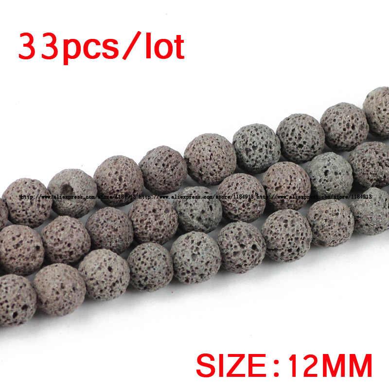Jhnby серый лавы бисер Натуральный камень вулканической породы высокое качество круглый свободные шарики мяч 4/6/8/10/12 мм Jewelry Изготовление браслетов, «сделай сам»
