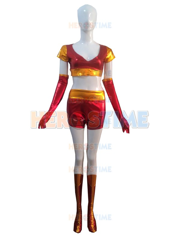 Iron Man Ironette Shiny Metallic Superhero Female Costume Zentai Women/Girls/Lady Zentai Suit