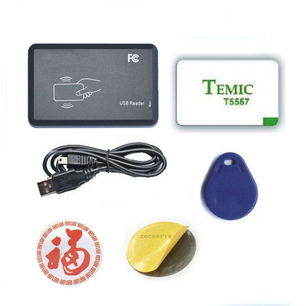 Frecuencia de 125KHZ, lector de tarjetas ID EM, copiadora/copia de tarjetas de identificación/USB, software en inglés, etiqueta reescribible gratuita Lector de fotocopiadora de tarjetas RFID NFC, duplicador inglés, programador de frecuencia 10 para tarjetas de ID IC y todas las tarjetas 125kHz + 5 uds. ID 125k