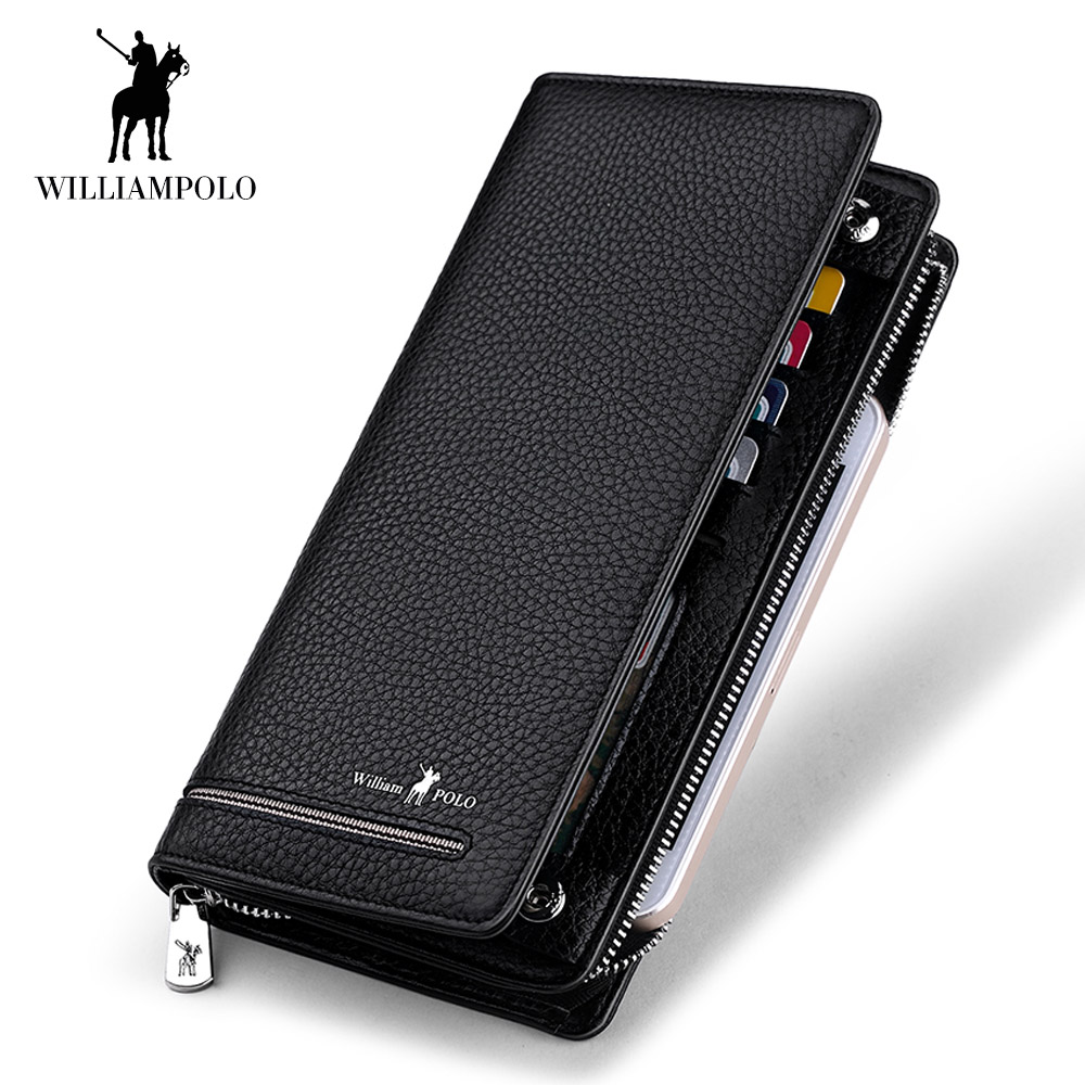 WilliamPOLO Top Brand Men Zipper Wallets Long Clutch Wallet Card Holder Handbag Genuine Leather Business Organizer