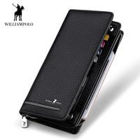 WilliamPOLO Top Brand Men Zipper Wallets Long Clutch Wallet Card Holder Handbag Genuine Leather Business Organizer Phone Purse