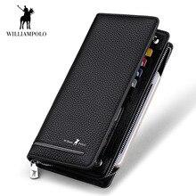 WilliamPOLO Лидирующий бренд для мужчин молнии женские кошельки Длинные сцепления кошелек держатель для карт сумки пояса из натуральной кожи бизнес