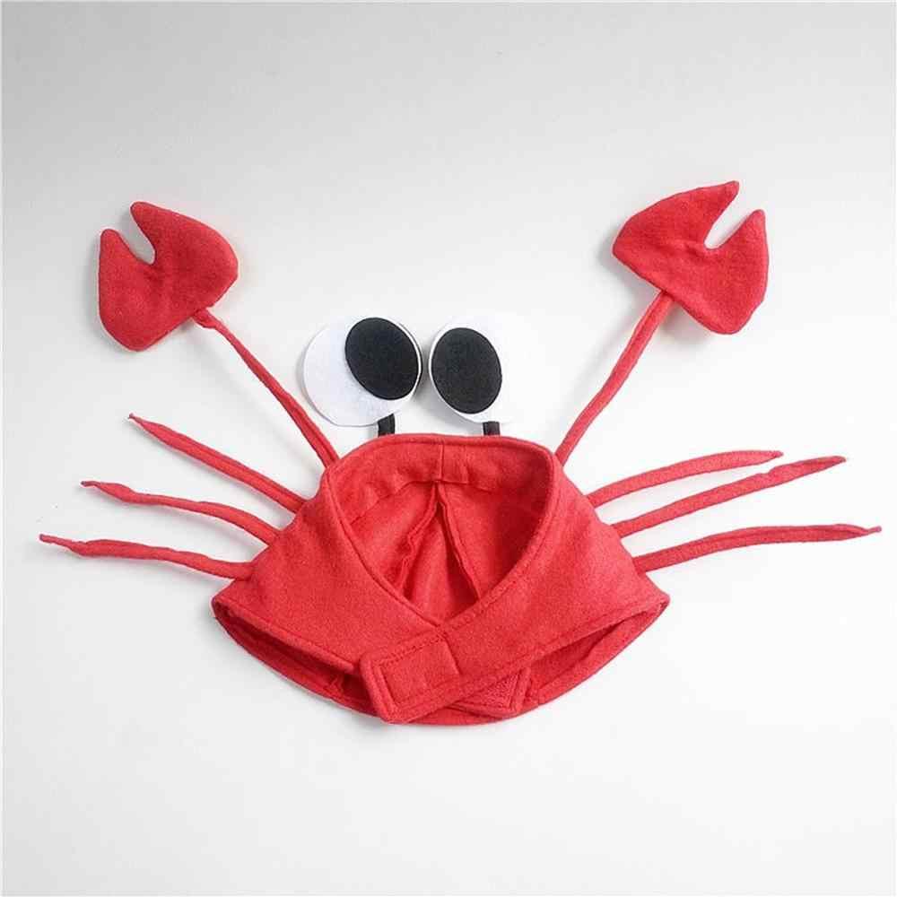 ליל כל הקדושים חג המולד חמוד אדום לובסטר סרטן כובע מפלגה מבוגרים תלבושות כובע מתנה