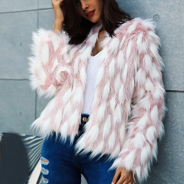 9e5d9c21f Fluffy Warm Faux Fur Coat Women Fake Fur Short Winter Coat Female 2018  Autumn Chic Pink Party Casual Furry Overcoat 6Q2149