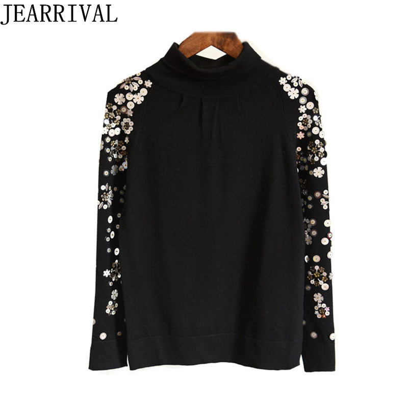 Women Turtleneck Sweaters 2018 New Spring Autumn Fashion Beading Embroidery Long Sleeve Knitted Sweater Pullovers Pull Femme