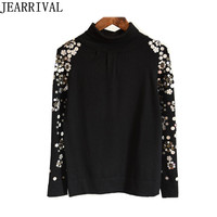 Women Turtleneck Sweaters 2017 Autumn Winter Fashion Beading Embroidery Long Sleeve Knitted Sweater Pullovers Pull Femme