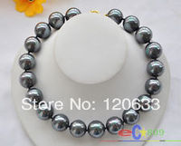 QQ lady's Jewellery gift HUGE 17 20MM PEACOCK BLACK SOUTH SEA SHELL PEARL NECKLACE .wholesale