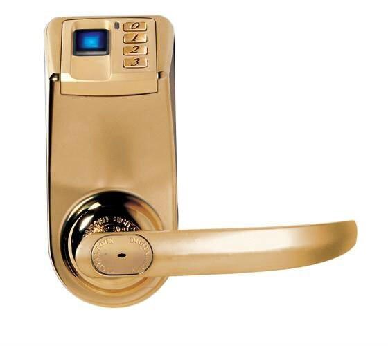 Free Shipping KO-F33 New arrival! Golden Lock ADEL DIY Fingerprint Door Lock with Password & Mechanical Key