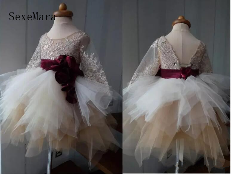 Lovely Champagne Flower Girls Dresses For Weddings Sheer Scoop Neck Long Sleeves Lace Birthday Party Dresses for Little Girls burgundy zip design scoop neck long sleeves top