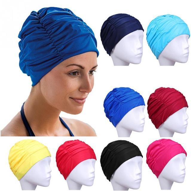 98eecfdd66a70 Tamanho livre Esportes Nadar Piscina Touca de Natação Cabelo Comprido  Chapéu Turbante de Nylon Elástico para