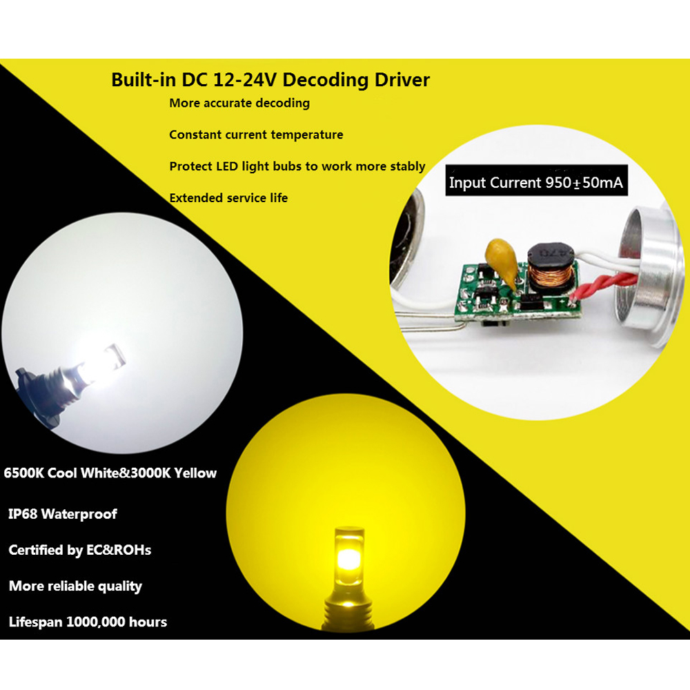 CJXMX H8 H9 H11 LED Fog Light Bulbs 1600LM 3000K Gold Yellow 6500K White Extremely Bright Car Lights 12V Fog Lamps Driving Bulbs in Car Headlight Bulbs LED from Automobiles Motorcycles