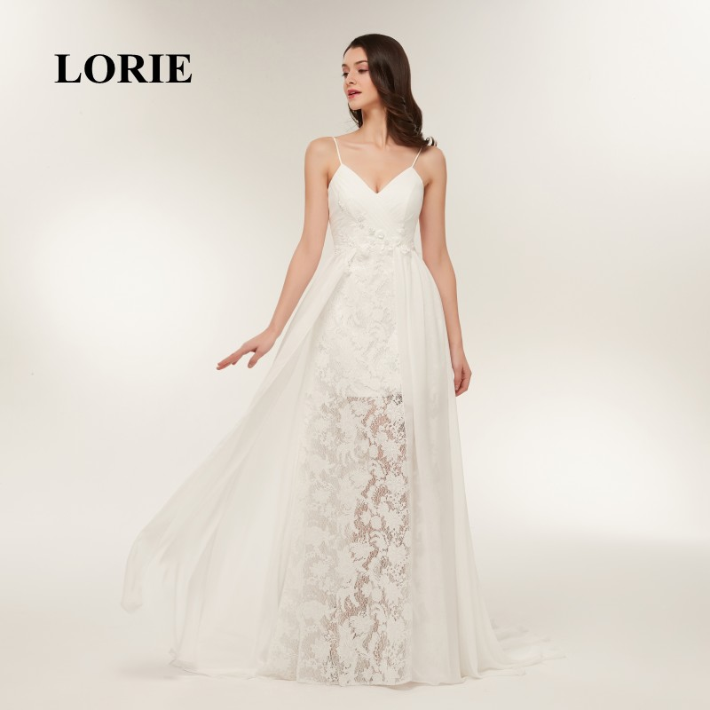 d735fa037f Aliexpress.com : Buy LORIE Lace Wedding Dresses 2018 Spaghetti Strap Cheap  Sweep Train White Chiffon Bridal Dress Beach Wedding Gown Free Shipping  from ...