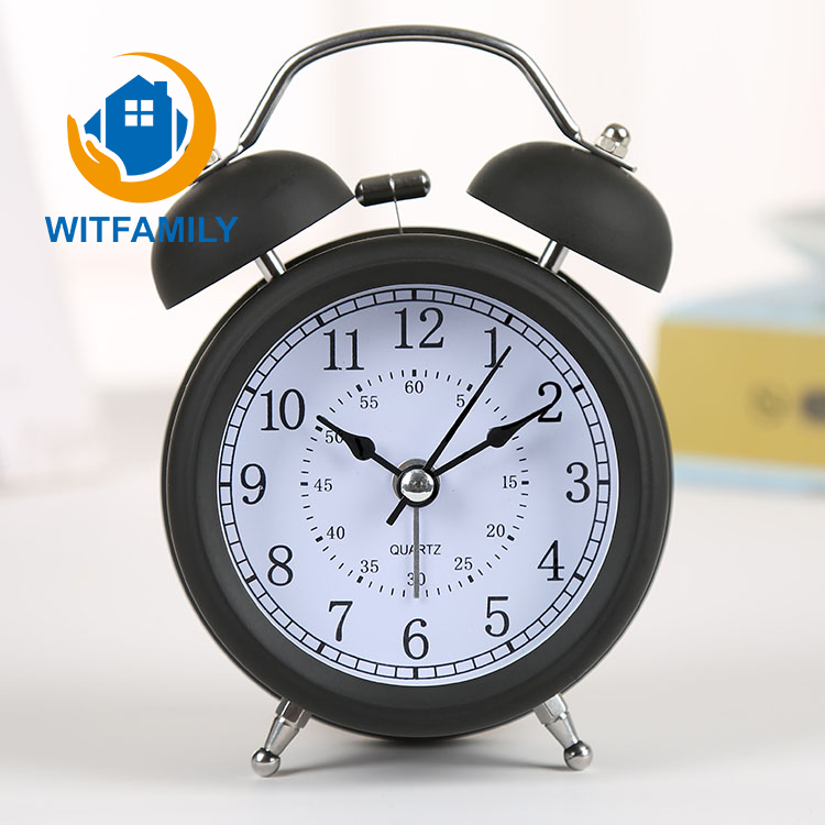 3-Inch Alarm Clock with Loud Alarm and Nightlight Silent Quartz Stainless Metal Alarm Clock Lazy Bedroom Bedside Alarm Clock