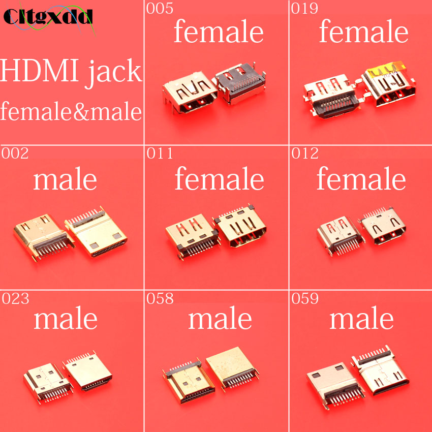 Cltgxdd 19pin(9pin 10pin) Two-row Needle HDMI Jack Socket Female And Male Connector HD TV Interface And Laptop Replacement
