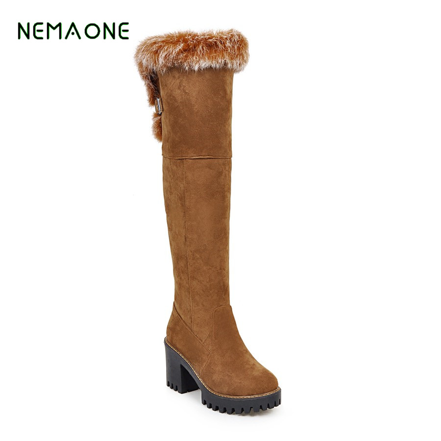 NEMAONE  new arrival keep warm snow boots fashion platform fur thigh knee high boots warm winter boots for women shoes boats nemaone 2017 new snow boots women winter black flat platform ankle boots ladies fur warm australia boots
