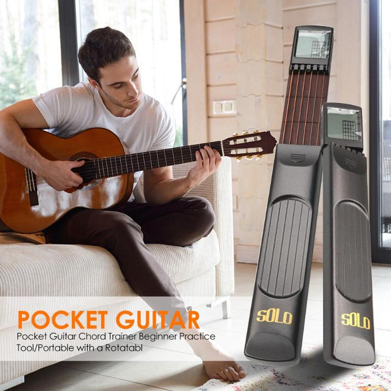 Pocket Guitar 6 Strings Trainer Beginner Practice Tool/Portable With Chord Chart Screen Finger Exerciser Beginner Practice Tool