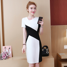 Spring and summer new style Large size womens dress Fashion black white stitching step
