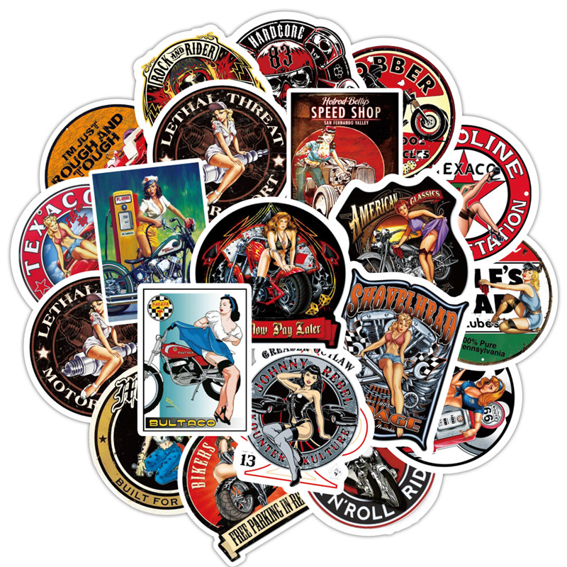 90PCS Sexy Girl Adhesivo Moto Vintage Stickers For Luggage On Laptop Skateboard Bicycle Fridge Sticker Set