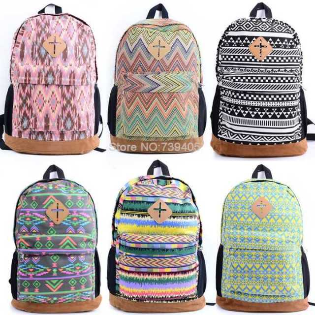 hot sale high quality women printing backpack youth girl canvas ...