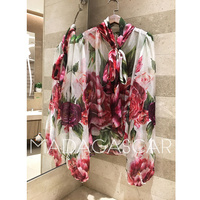 2018 new women's floral Bow tie peony rose print scarf collar perspective bubble sleeve Long sleeve fashion 100%silk shirt