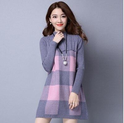 купить Autumn Winter Women Pullover Sweater Dress Female Long Sleeve Warm Cashmere Pattern Turtleneck Knitted Dress Fashion Pullovers недорого