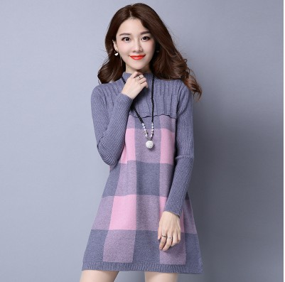 Autumn Winter Women Pullover Sweater Dress Female Long Sleeve Warm Cashmere Pattern Turtleneck Knitted Dress Fashion Pullovers