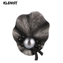 Elegant Lotus Leaf Brooch Metal Pins and Brooches for Women Ancient Silver Stone Floral Flower Brooch Scarf Pins Clothes Jewelry rhinestone octopus flower pins and brooches for women plant brooch pearl crystal metal badges natural stone clothes jewelry gift