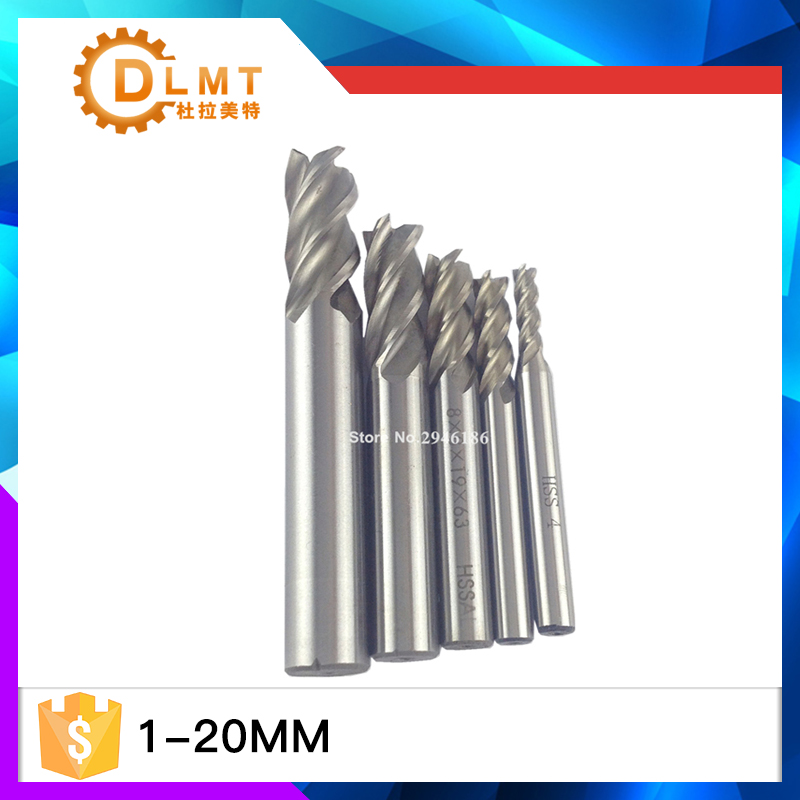 Free shipping New 2pc 2-20mm HSS CNC Straight Shank 4 Flute End Mill Milling Cutter  Bits Cutting Tools mill cutter 3 175 12 0 5 40l one flute spiral taper cutter cnc engraving tools one flute spiral bit taper bits