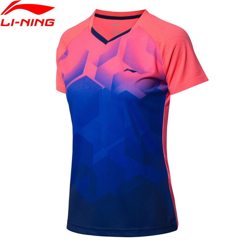 Li-Ning Women Badminton T-Shirt Breathable AT DRY Seamless LiNing Li Ning Competition Sports Tees Tops T-Shirt AAYN078 WTS1435