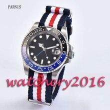 Fashion 40mm Parnis black dial black & blue ceramic bezel nylon strap sapphire glass GMT Automatic Men's business Watch