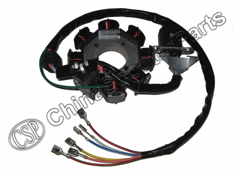 magneto stator 8 pole coil 6 wire 200c 250cc cg bashan shineray, Wiring diagram