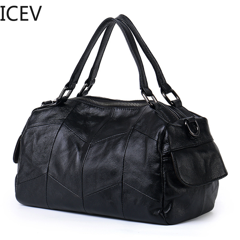 ICEV New Simple European Fashion Genuine Leather Handbags Quilted Pillow Bags Handbags Women Famous Brands Women Messenger Bags