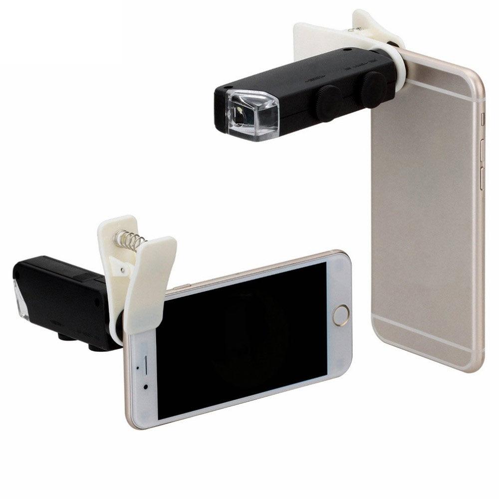 60X zu 100X Zoom LED Mikroskop Lupe Micro Handy Objektiv Kamera mit Universal Clip Für iPhone Samsung HTC Huawei
