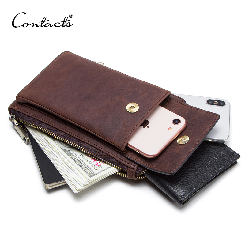 CONTACT'S Genuine Leather Men Shoulder Bag For Cell Phone With Card Holders Male Vintage Crossbody Bag Men's Small Waist Packs