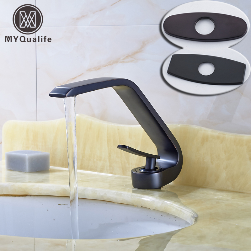 Oil Rubbed Bronze Curved Style Bathroom Vanity Sink Mixer Faucet Single Handle Basin Faucet 6 Decorate Plate