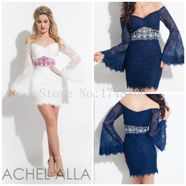 58d5058e4e8 Rachel Allan Dark Blue White Off Shoulder Lace Short Graduation Dresses  Beading Waist Mini Cheap Long