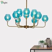 12 Light Blue / Clear Glass Shades Lustre Led E14 Chandelier Bronze Gold Metal Pendant Chandelier Lighting Fxitures Led Lamparas