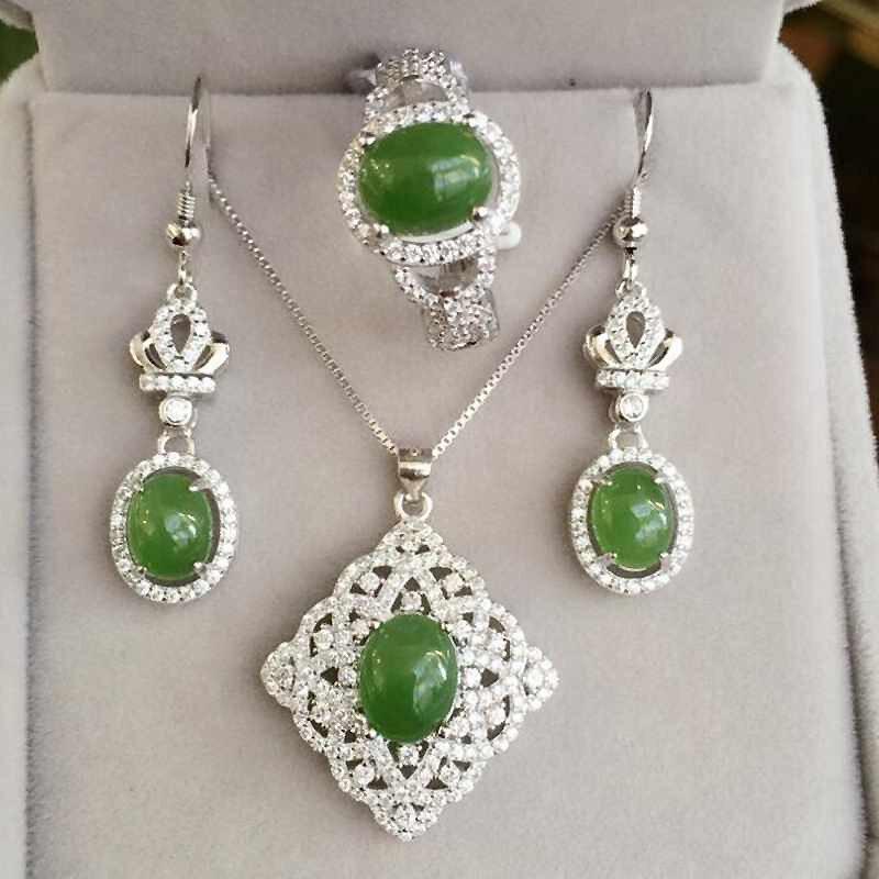 Natural Gemstone Jewelry Hetian Jasper White Gold Color Women 925 Silver Jewelry Set Wedding Necklace Earrings