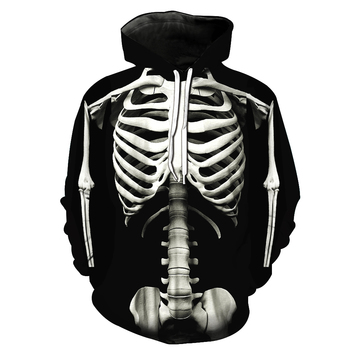 Men Standing Skeleton 3D Print Streetwear Gothic Crew Neck Hoodie