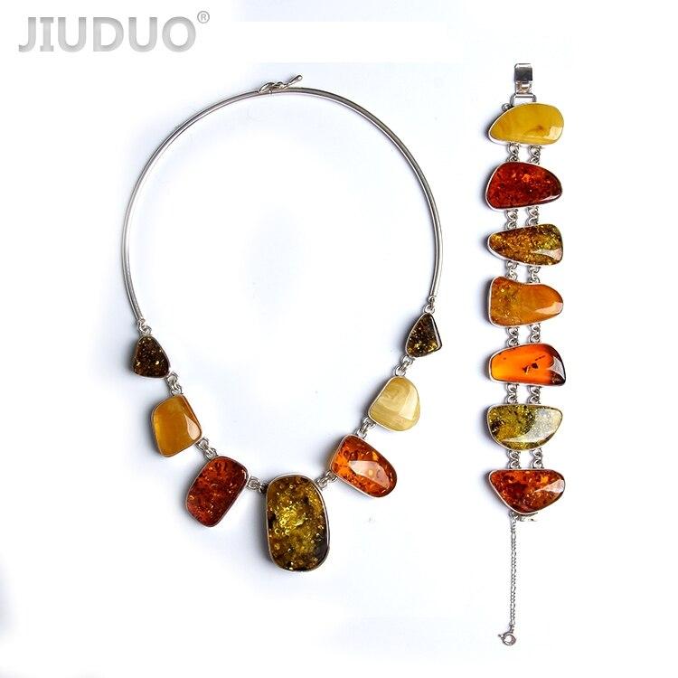 JIUDUO bijoux Véritable naturel ambre Bijoux twist perle argent collier en argent et bracelet ensemble costume usine prix fidélité