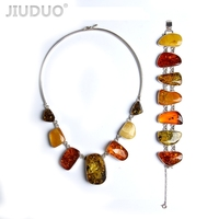natural amber Jewelry twist bead silver silver necklace and bracelet set suit factory price fidelity 118g