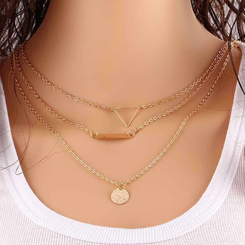 Infery 3 Multi Layer Cool Hollow Out Triangle Necklace Elegant Coins Pendant Necklaces for Women Choker Neckless Jewelry 1N232