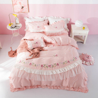 2018 Cute girls Bedding set Embroidery Lace Double King Queen size Bedsheet set Duvet cover Fit sheet Pillowcases